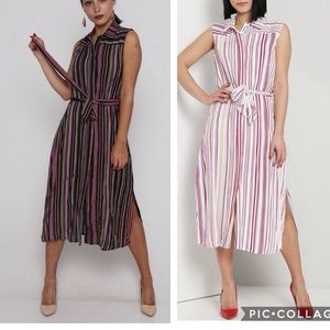 Esther striped sleeveless midi shirt dress